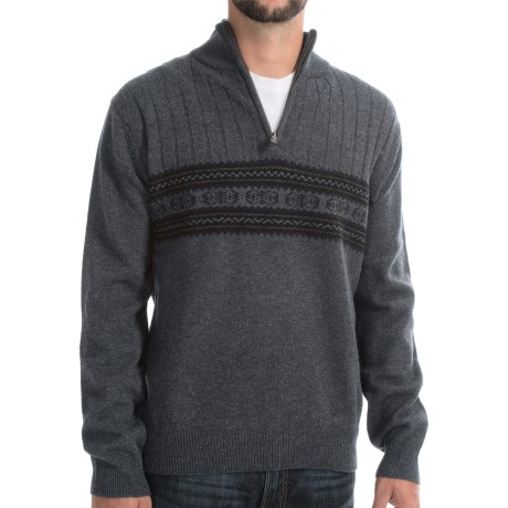 Viyella Lambswool Sweater Zip Mock Neck (For Men)