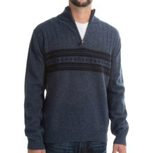 Viyella Lambswool Sweater - Zip Mock Neck (For Men) in Insignia Blue - Closeouts