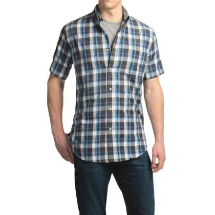 Viyella Madras Plaid Sport Shirt - Cotton, Short Sleeve (For Men) in Grey - Closeouts