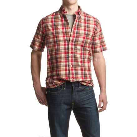 Viyella Madras Plaid Sport Shirt - Cotton, Short Sleeve (For Men) in Russet - Closeouts