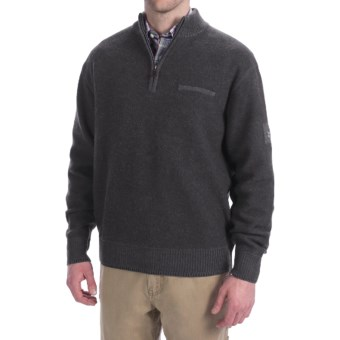 Viyella Merino Wool Sweater - Boiled Wool, Zip Neck, Long Sleeve (For Men) in Charcoal