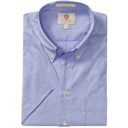 Viyella Mini-Stripe Shirt - Button-Down Collar, Short Sleeve (For Men) in Blue - Closeouts