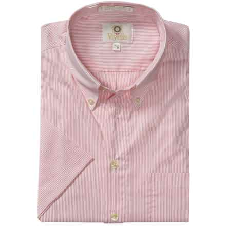 Viyella Mini-Stripe Shirt - Button-Down Collar, Short Sleeve (For Men) in Pink - Closeouts