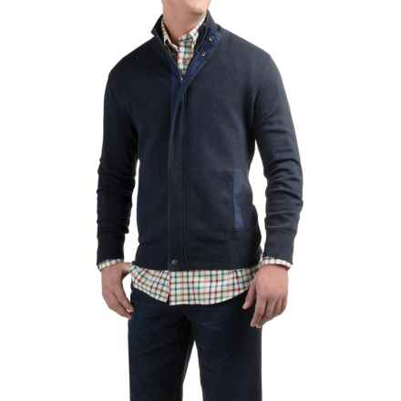 Viyella Mock Neck Cardigan Sweater - Zip Front (For Men) in Blue - Closeouts