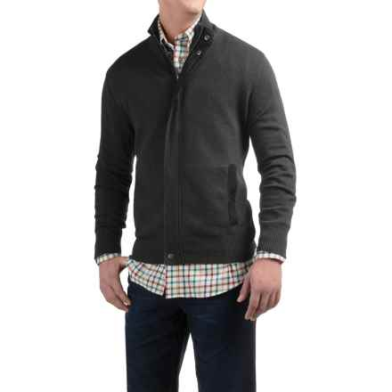 Viyella Mock Neck Cardigan Sweater - Zip Front (For Men) in Charcoal - Closeouts