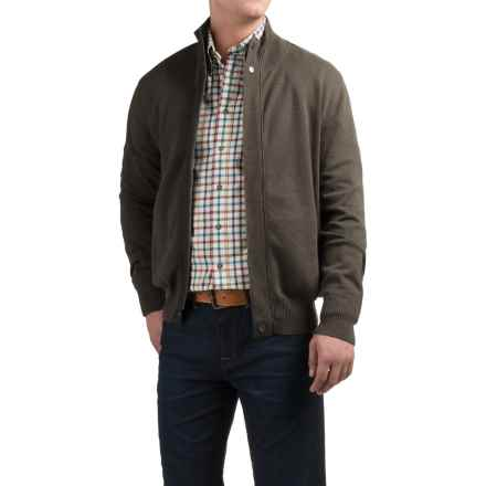 Viyella Mock Neck Cardigan Sweater - Zip Front (For Men) in Hunter - Closeouts