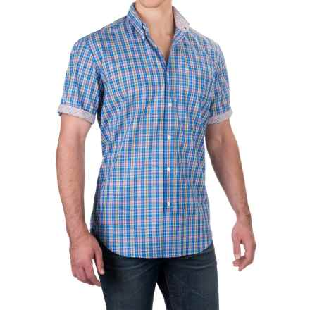 Viyella Multi-Check Shirt - Button-Down Collar, Short Sleeve (For Men) in Blue/Yellow/Red - Closeouts