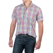 Viyella Multi-Check Shirt - Button-Down Collar, Short Sleeve (For Men) in White/Purple/Green Multi - Closeouts