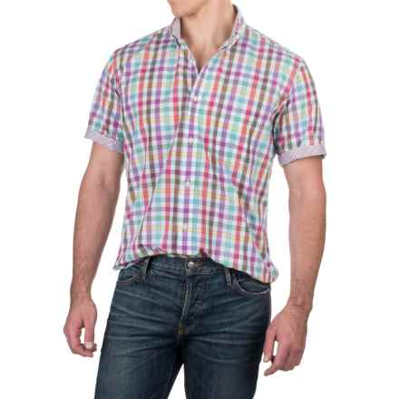 Viyella Multi-Check Shirt - Button-Down Collar, Short Sleeve (For Men) in White/Purple/Green Multi - Closeouts