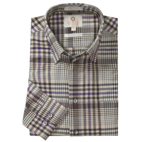 Viyella Multi-Check Sport Shirt - Hidden Button-Down Collar, Long Sleeve (For Men) in Grape/Olive/Cream