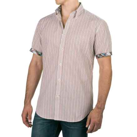 Viyella Multi-Stripe Shirt - Button-Down, Short Sleeve (For Men) in Cream/Brown/Pink - Closeouts