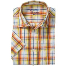 Viyella Multi-Windowpane Shirt - Spread Collar, Short Sleeve (For Men) in Amber Glow - Closeouts