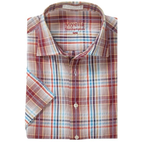 Viyella Multi-Windowpane Shirt - Spread Collar, Short Sleeve (For Men) in Cardinal Red