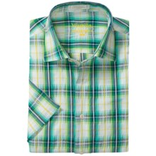 Viyella Multi-Windowpane Shirt - Spread Collar, Short Sleeve (For Men) in Green Glow - Closeouts
