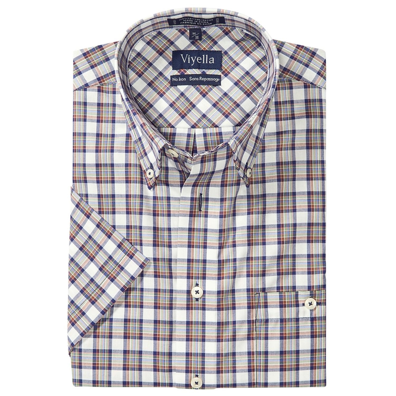 Viyella no iron cotton plaid shirt button down short for No iron shirts mens