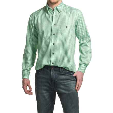 Viyella No-Iron Mini-Check Sport Shirt - Cotton, Long Sleeve (For Men) in Island Green - Closeouts