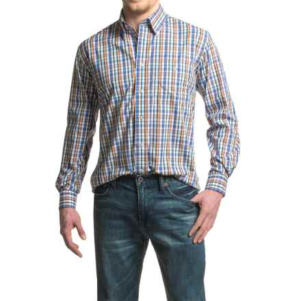 Viyella No-Iron Multi Plaid Sport Shirt - Cotton, Long Sleeve (For Men) in Toffee - Closeouts