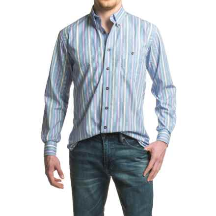 Viyella No-Iron Multi-Stripe Sport Shirt - Cotton, Long Sleeve (For Men) in Ashley Blue - Closeouts