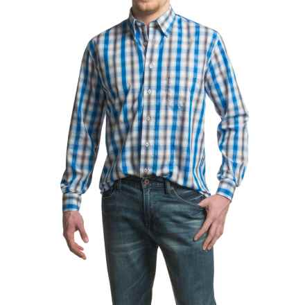 Viyella No-Iron Thick Plaid Sport Shirt - Cotton, Long Sleeve (For Men) in Royal - Closeouts