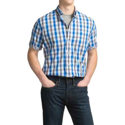 Viyella No-Iron Thick Plaid Sport Shirt - Cotton, Short Sleeve in 1800 Royal - Closeouts