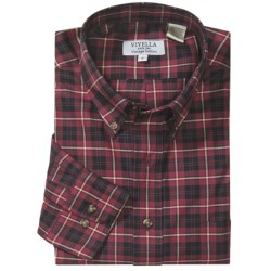 Viyella Plaid Sport Shirt - Button-Down Collar, Cotton Twill, Long Sleeve (For Men) in Raspberry/Black