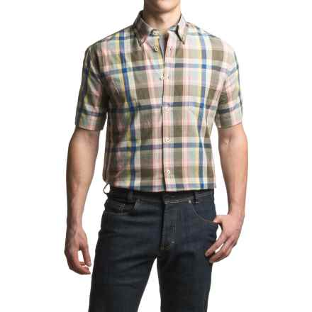 Viyella Plaid Sport Shirt - Cotton, Short Sleeve (For Men) in Pink - Closeouts