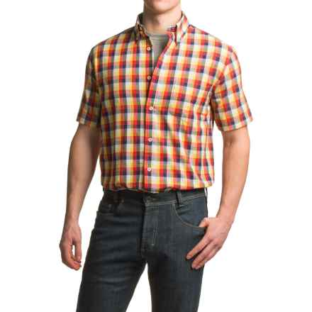 Viyella Plaid Sport Shirt - Cotton, Short Sleeve (For Men) in Yellow - Closeouts