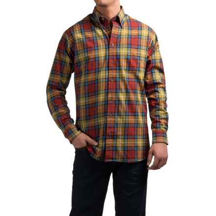 Viyella Plaid Sport Shirt - Cotton-Wool, Long Sleeve (For Men) in Dijon/Red/Orange - Closeouts
