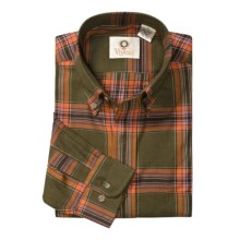 Viyella Plaid Sport Shirt - Cotton-Wool, Long Sleeve (For Men) in Olive/Orange/Red - Closeouts