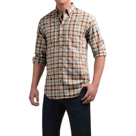 Viyella Plaid Sport Shirt - Cotton-Wool, Long Sleeve (For Men) in Tan/Brown/Red - Closeouts