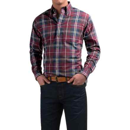 Viyella Plaid Sport Shirt - Cotton-Wool, Long Sleeve (For Men) in Vino/Blue/Natrual - Closeouts