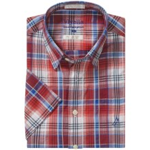 Viyella Southhampton Plaid Shirt - Hidden Button-Down Collar, Short Sleeve (For Men) in Orange/Blue/Black - Closeouts