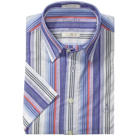 Viyella Southhampton Stripe Shirt - Short Sleeve (For Men) in Blue/Lilac