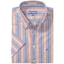 Viyella Southhampton Stripe Shirt - Short Sleeve (For Men) in Blue/Orange - Closeouts