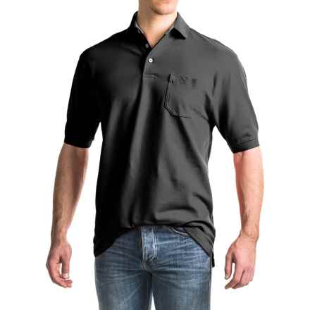 Viyella Stretch Pique Polo Shirt - Short Sleeve (For Men) in Black - Closeouts