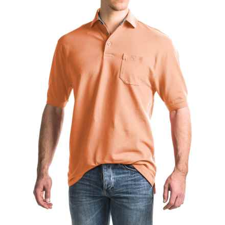 Viyella Stretch Pique Polo Shirt - Short Sleeve (For Men) in Cantaloupe - Closeouts