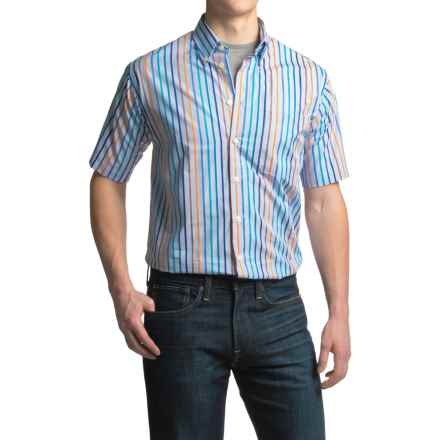 Viyella Striped Sport Shirt - Cotton, Short Sleeve (For Men) in Niagara Blue - Closeouts