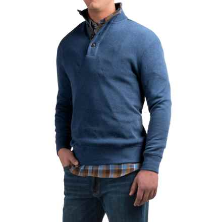 Viyella Zip and Button Mock Neck Sweater - Cotton (For Men) in Twilight Blue - Closeouts