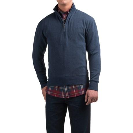Viyella Zip Mock Neck Sweater (For Men) in Vintage Indigo