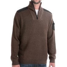 Viyella Zip Neck Sweater - Merino Wool (For Men) in Bleached Sand - Closeouts
