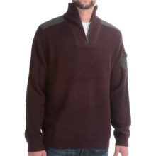 Viyella Zip Neck Sweater - Merino Wool (For Men) in Oxblood - Closeouts