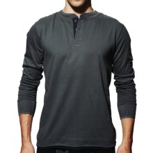 VK Nagrani Slim Fit Henley Shirt - Organic Pima Cotton, Long Sleeve (For Men) in Grey - Closeouts