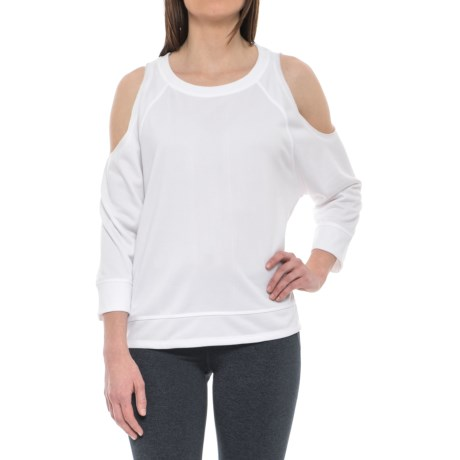 Vogo Cold-Shoulder Shirt - 3/4 Sleeve (For Women) in White