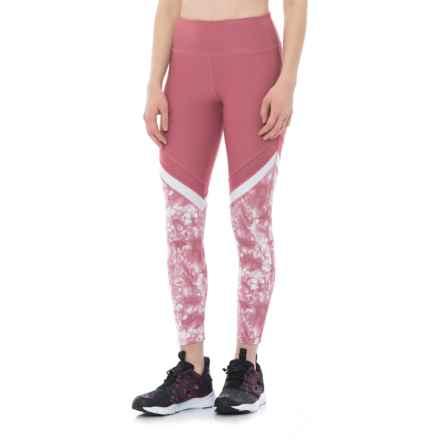 Vogo Color-Block Leggings (For Women) in Mauve/White Print - Closeouts
