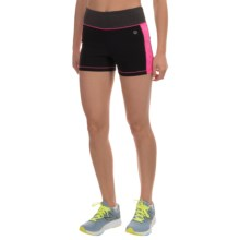 Vogo Heathered Panel Shorts (For Women) in Black/Fucshia - Closeouts