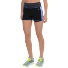 Vogo Heathered Panel Shorts (For Women) in Black/Sky Blue - Closeouts