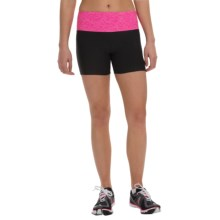 Vogo Heathered-Waist Shorts (For Women) in Black/Heather Fucshia - Closeouts