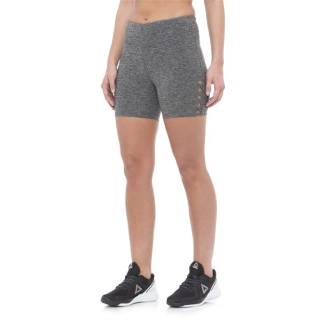 "Vogo Lattice Insert Shorts - 5"" (For Women) in Heather Charcoal"