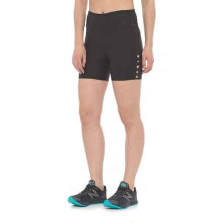 "Vogo Lattice Inserts Shorts - 5"" (For Women) in Black - Closeouts"