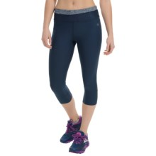 Vogo Mesh Heather Waist Treatment Capris (For Women) in Heather Navy/Navy - Closeouts